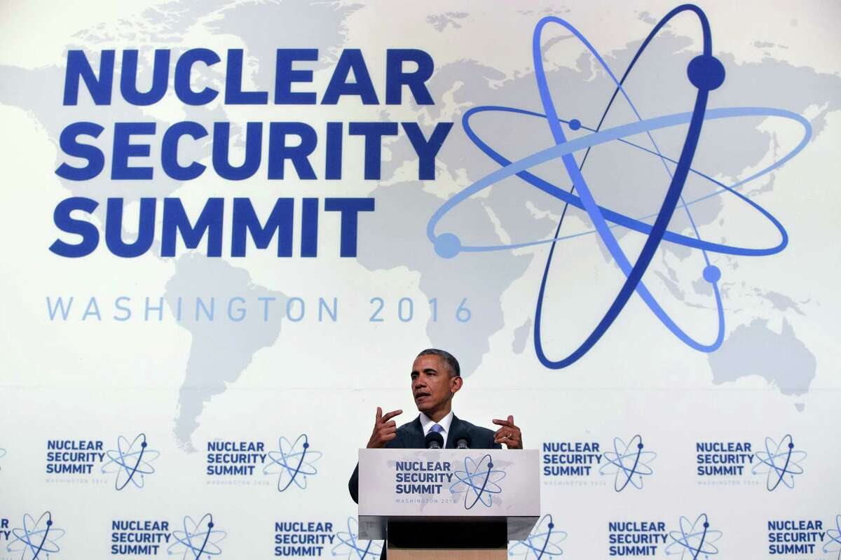 President Barack Obama gestures as he speaks during a news conference at the conclusion of the Nuclear Security Summit in Washington, Friday, April 1, 2016.