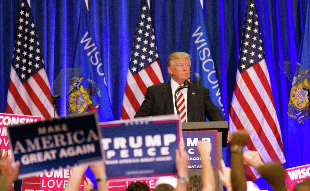 Republican presidential nominee Donald Trump looks over the crowd during his campaign rally on Aug. 16, 2016 in West Bend, Wis.