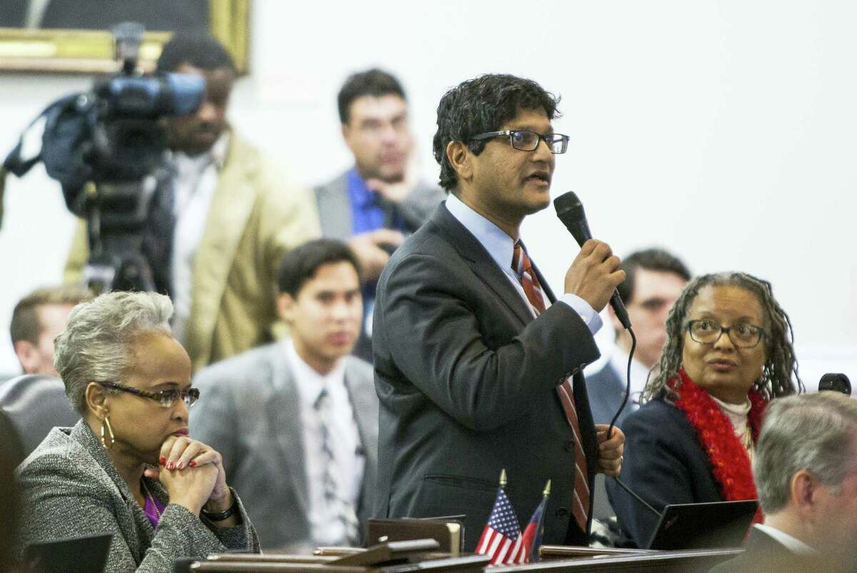 State Sen. Jay Chaudhuri, D-Wake, speaks on the senate floor during a special session of the North Carolina General Assembly called to consider repeal of NC HB2 in Raleigh, N.C., Wednesday, Dec. 21, 2016. North Carolina's legislature reconvened to see if enough lawmakers are willing to repeal a 9-month-old law that limited LGBT rights, including which bathrooms transgender people can use in public schools and government buildings.