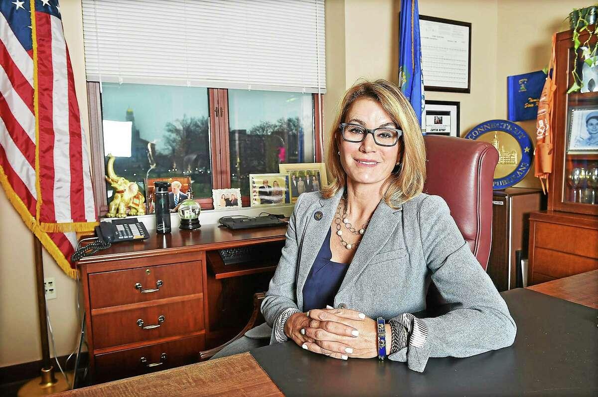 State Rep. Themis Klarides in her office at the Legislative Office Building in Hartford in 2014.