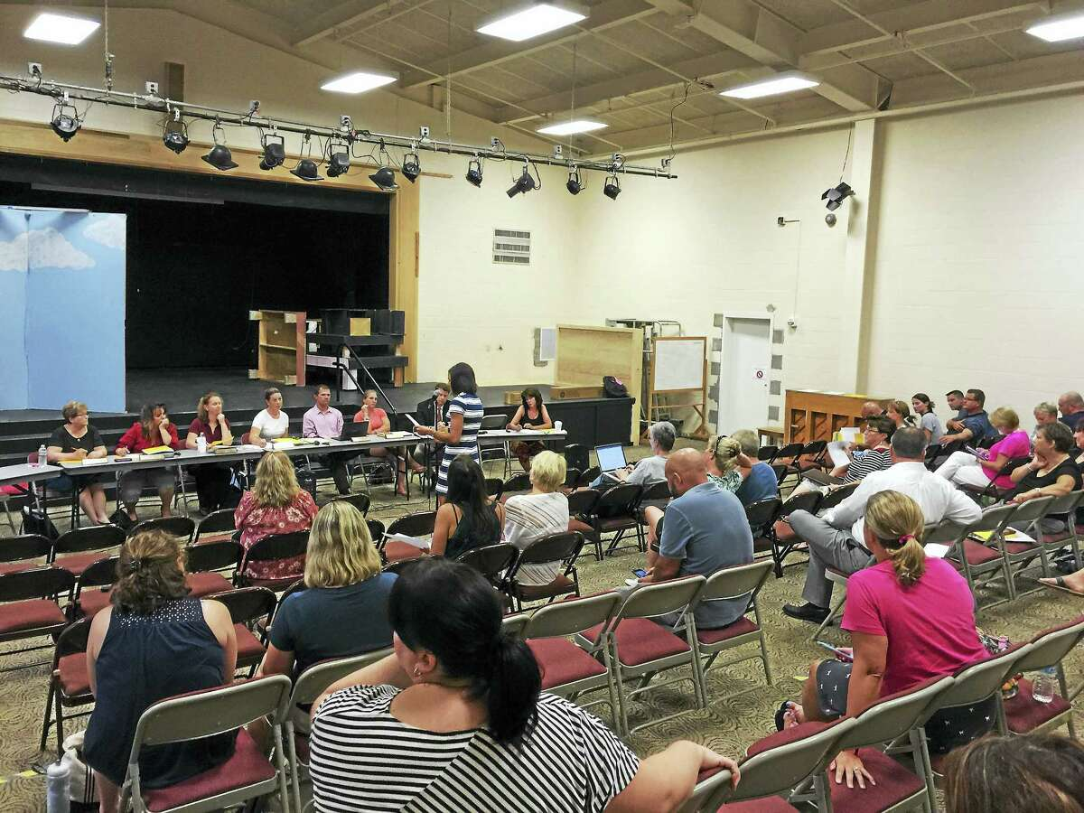 Ben Lambert - The Register Citizen Parents shared concerns about potential class sizes at Bakerville School during the New Hartford Board of Education's meeting on Tuesday night.