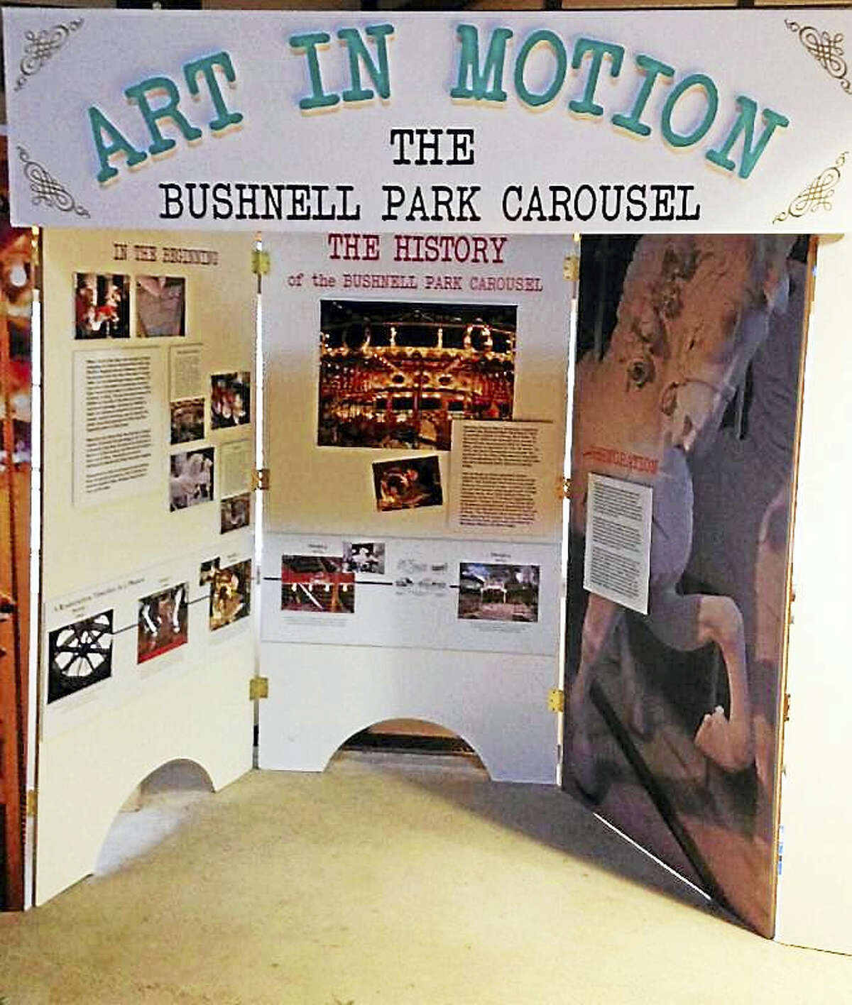 Contributed photo Art in Motion explores the restoration of the carousel at Bushnell Park in Hartford. The show is open through January.