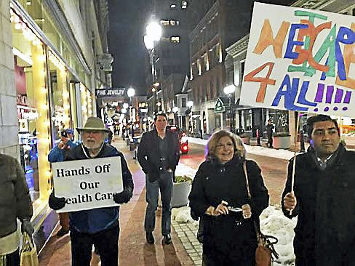 Rally outside Republican headquarters on Pratt Street in Hartford