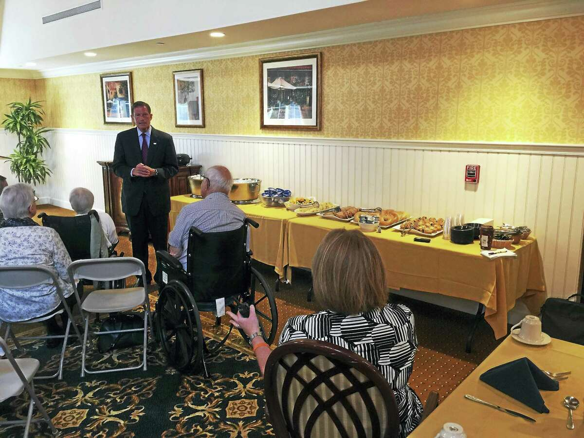 Ben Lambert - The Register Citizen U.S. Sen. Richard Blumenthal (D-CT) listens to a question from a guest during his visit with local senior citizens Tuesday morning, at Brandywine Senior Living in Litchfield.