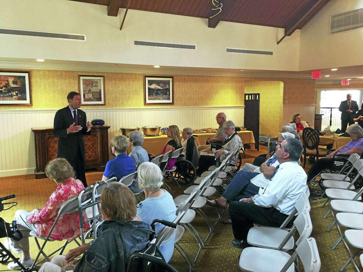 Ben Lambert - The Register Citizen U.S. Sen. Richard Blumenthal (D-CT) speaks with local senior citizens about common scams against seniorsTuesday morning at Brandywine Senior Living in Litchfield.
