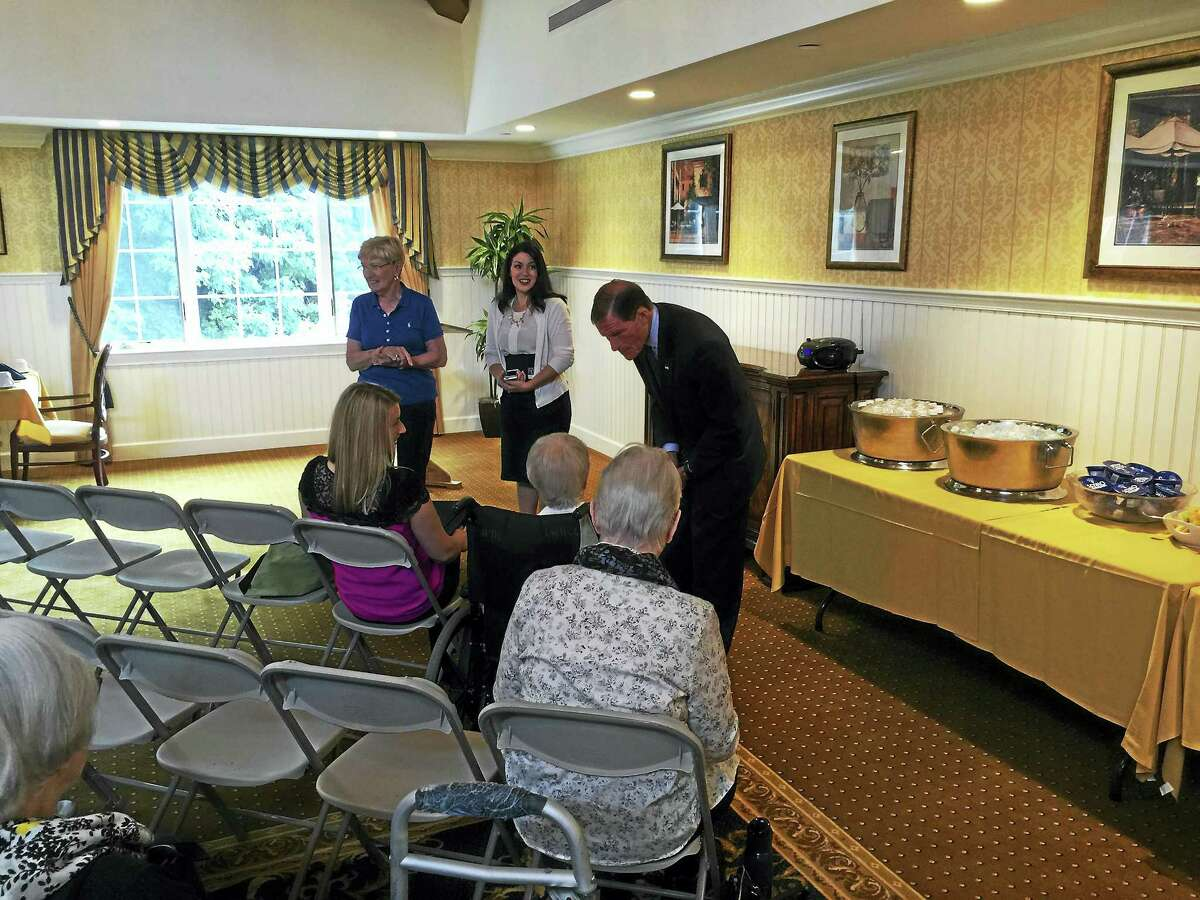 Ben Lambert - The Register Citizen U.S. Sen. Richard Blumenthal (D-CT) talks with residents during his talk at Brandywine Senior Living in Litchfield. The senator discussed common scams targeting the elderly, offering ways to avoid or resolve them.