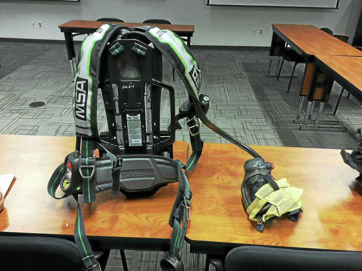 Ben Lambert - The Register Citizen A breathing equipment pack, which is worn by firefighters when they enter a burning building or a hazardous area.