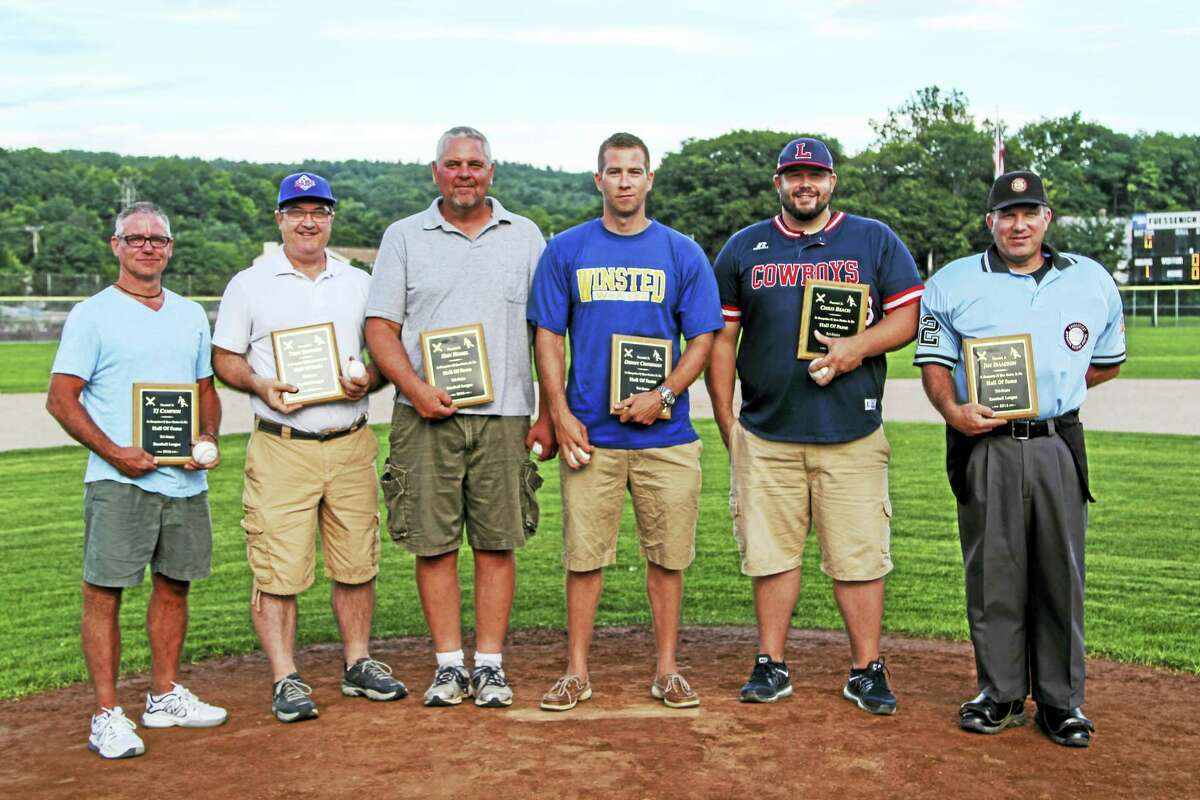 The Tri-State Baseball League's Hall of Fame inductees Monday evening are left to right: T.J. Campion, Tony Santoro, Dan Hamel, Donny Crossman, Chris Beach and Jim Isaacson.