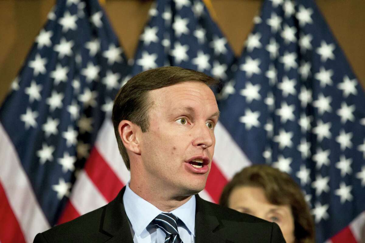 U.S. Sen. Chris Murphy, D-Conn., speaks during a media availability on Capitol Hill in Washington in June.