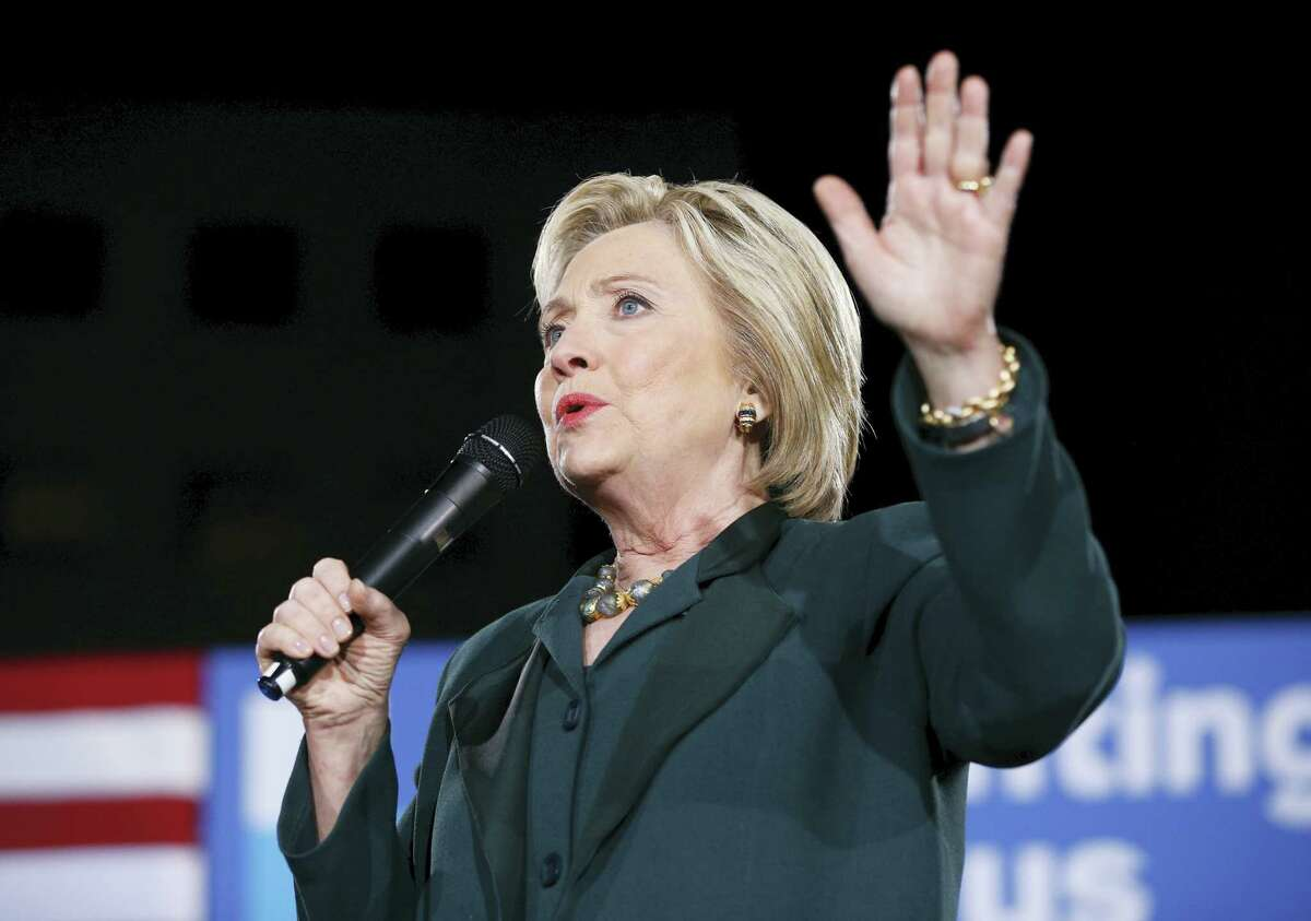 Democratic presidential candidate Hillary Clinton speaks during a rally in Las Vegas in this file photo.