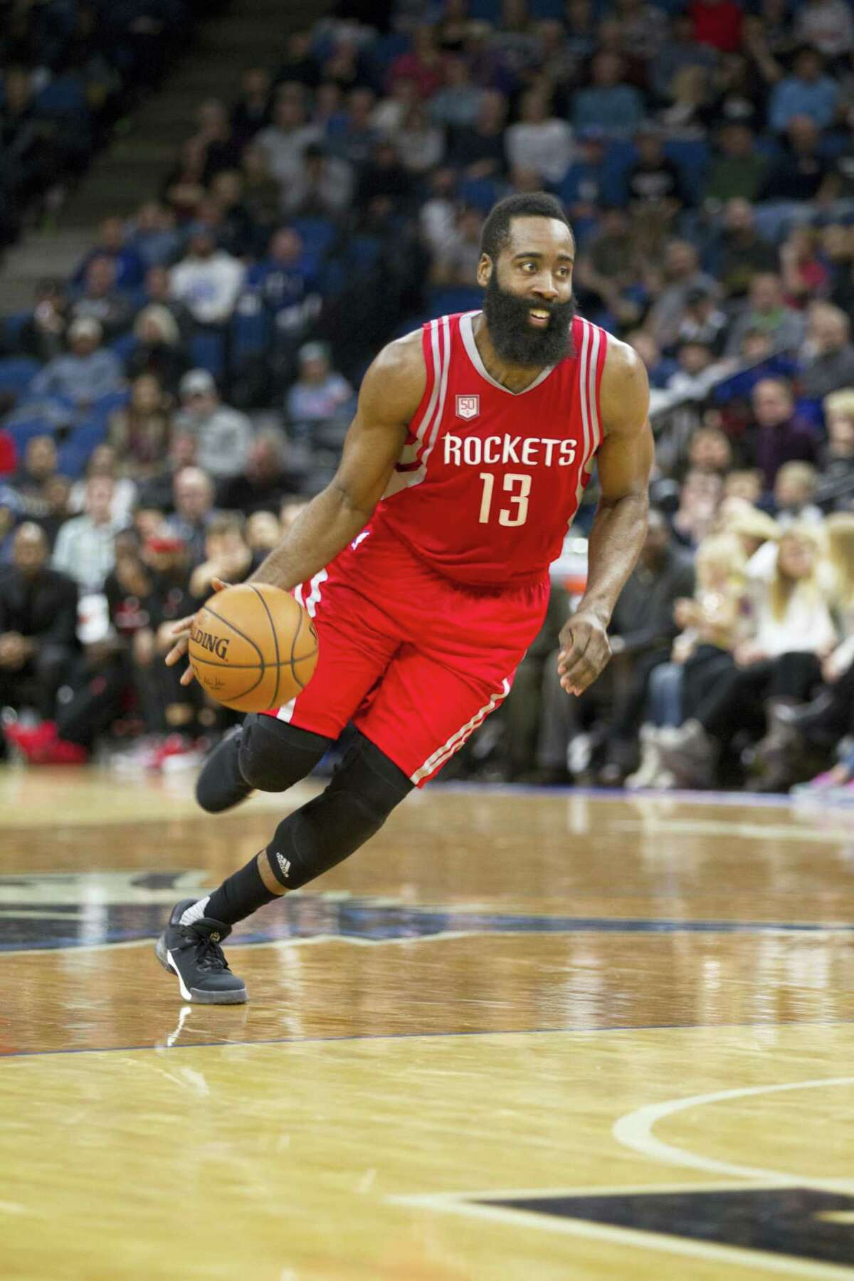 Houston Rockets guard James Harden (13) plays against Minnesota during an NBA basketball game on Saturday, Dec. 17, 2016 in Minneapolis.