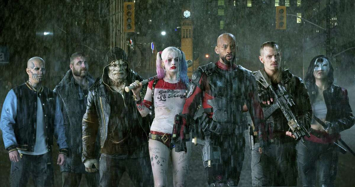 """This image released by Warner Bros. Pictures shows, from left, Jay Hernandez as Diablo, Jai Courtney as Boomerang, Adewale Akinnuoye-Agbaje as Killer Croc, Margot Robbie as Harley Quinn, Will Smith as Deadshot, Joel Kinnaman as Rick Flag and Karen Fukuhara as Katana in a scene from """"Suicide Squad."""""""