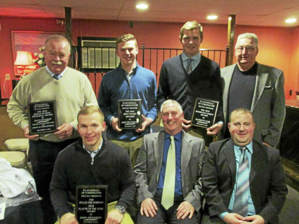 Award winners and coaches at the Torrington P38 American Legion Baseball team's annual banquet at O'Connor's Pub Sunday night were, seated left to right: John Swanson, Head Coach R.J. Poniatoski, Coach Eric Mahar; standing, left to right, David Swanson, Jake Reynolds, Garrett Coe, General Manager Biff Pond.