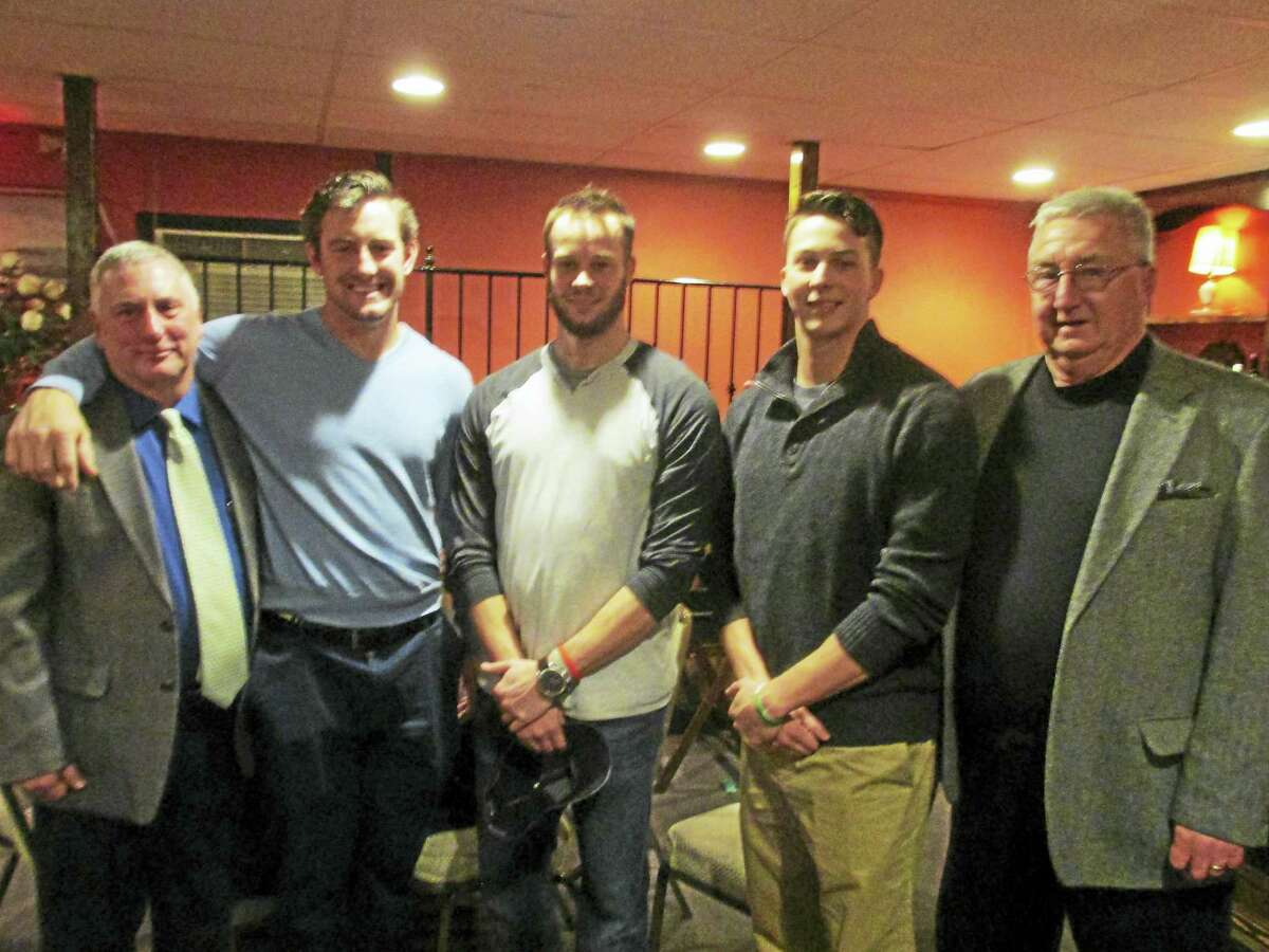Photo by Peter Wallace Three of the four Torrington P38 American Legion baseball alumni who made it to the pros since 2007 returned for the team's annual banquet Sunday night. From left are P38 Head Coach R.J. Poniatoski, outfielder Conor Bierfeldt, relief pitcher Evan Scribner, starting pitcher Troy Scribner and P38 General Manager Biff Pond.