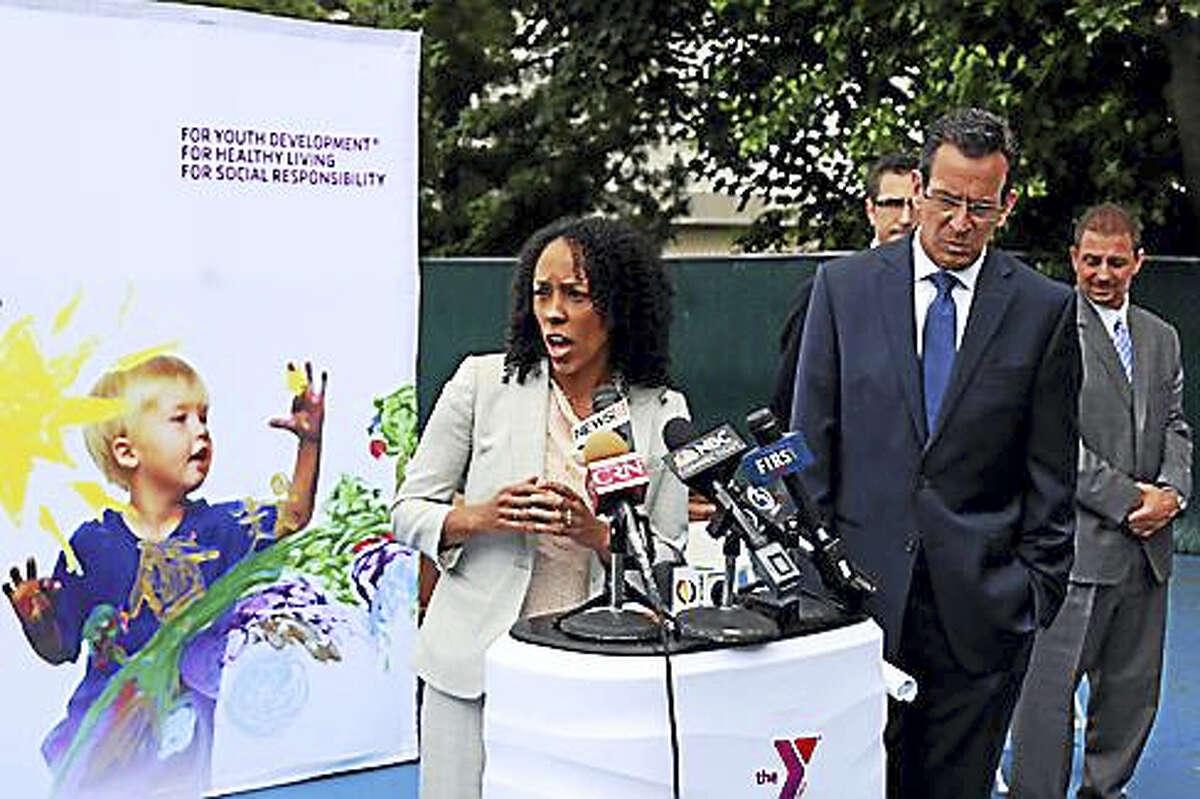 Myra Jones-Taylor and Gov. Dannel P. Malloy speak at a Meriden headstart program announcing the formation of the office in June 2014.