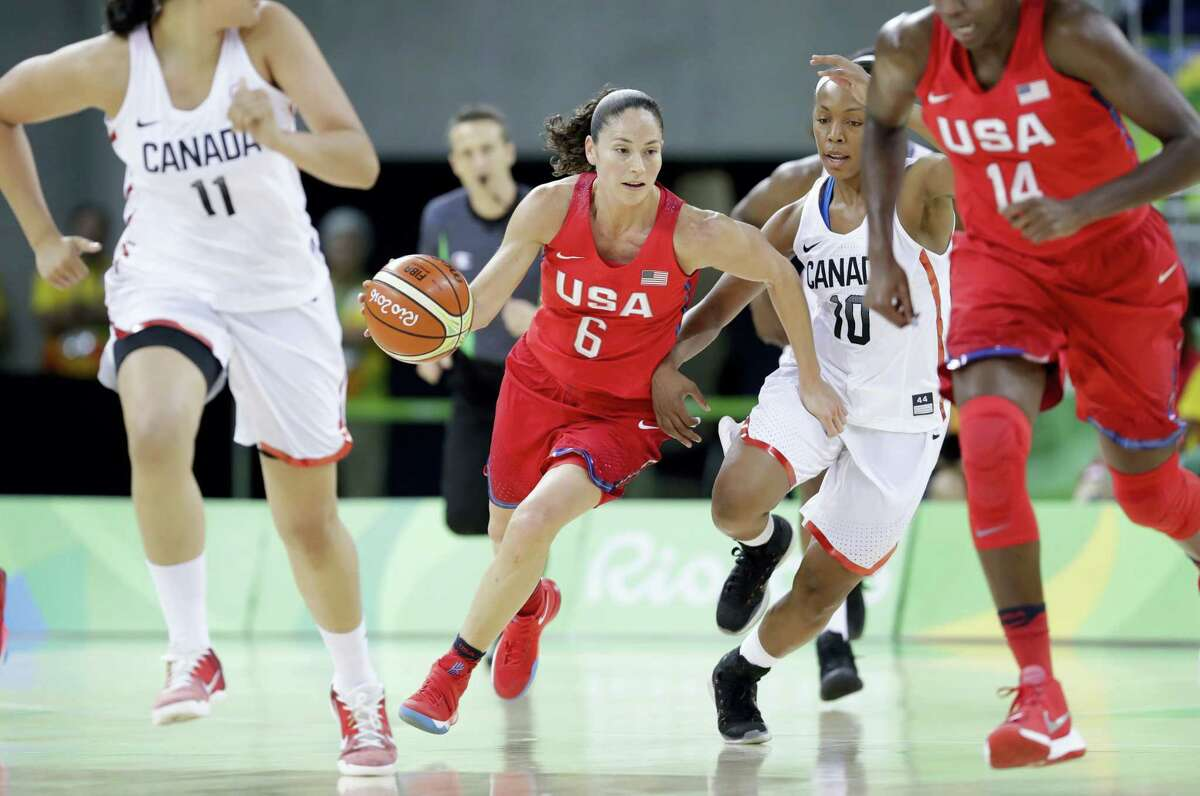 United States guard Sue Bird (6) brings the ball up court during the first half on Friday.