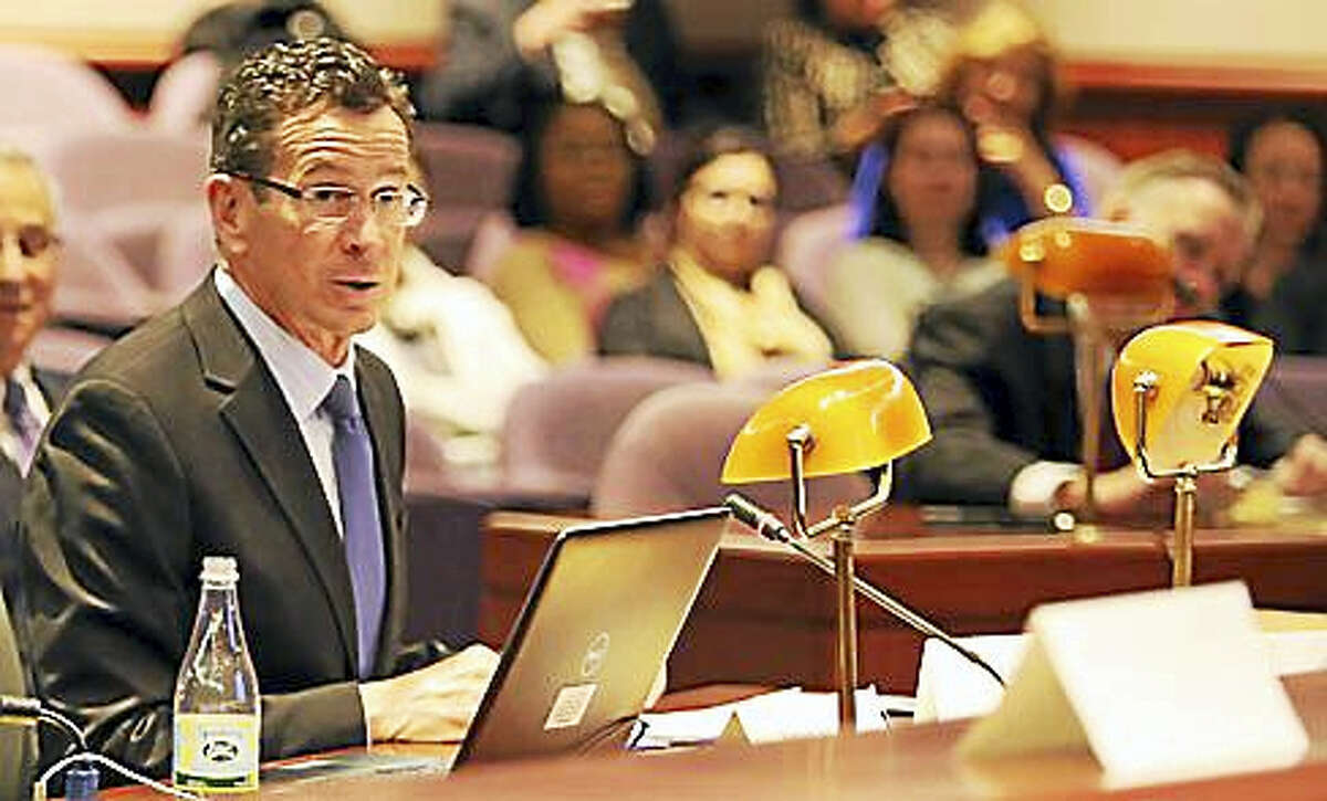 Gov. Dannel P. Malloy testifies Thursday at the Juvenile Justice Policy & Oversight Committee meeting.