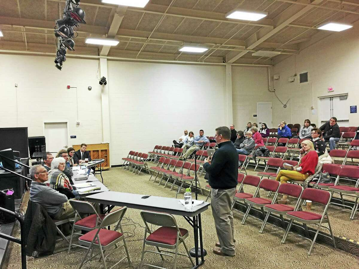 Ben Lambert - The Register CitizenNew Hartford Board of Education members and town residents considered enrollment projections for the town schools Thursday.