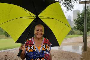 At Buffalo Bayou Park, where the bayous crept toward overflowing, some residents gathered to enjoy nature, exercise and even dance.  Lillian, seen above, spent some time dancing in the rain.