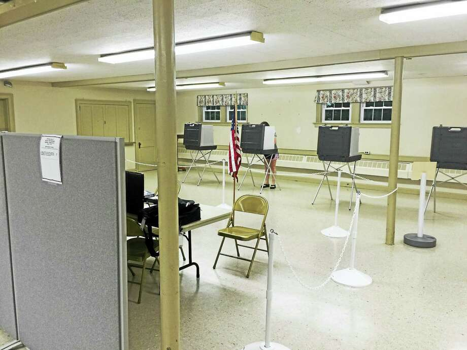 Ben Lambert - The Register Citizen  Morris residents voted down a second budget proposal Thursday. Above, the basement of the Morris Town hall near the end of the referendum. Photo: Journal Register Co.