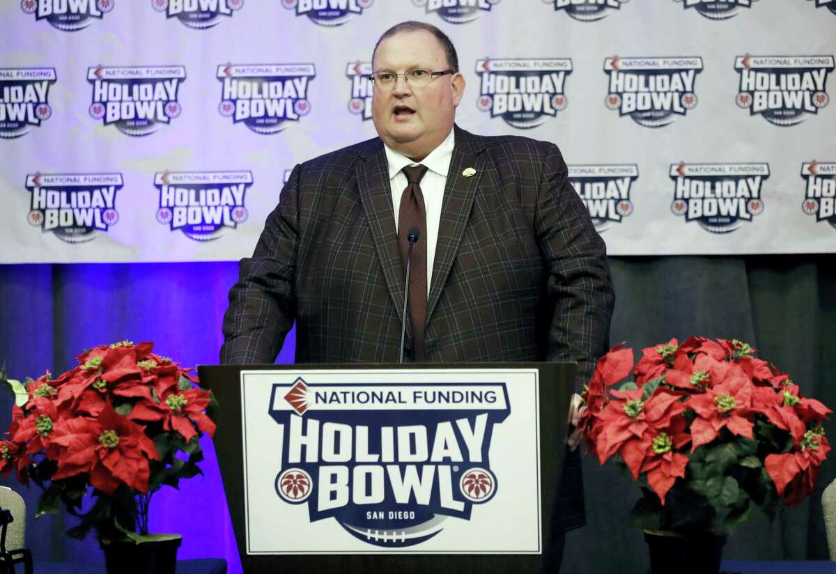 Minnesota head coach Tracy Claeys speaks during a news conference for the upcoming Holiday Bowl.