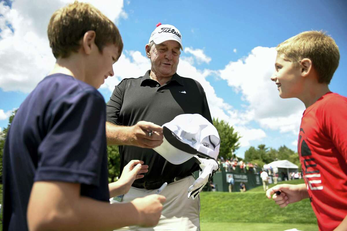 Former UConn coach Jim Calhoun, pictured here at the pro-am for the Travelers Championship golf tournament last week, will have many of his former players return for the Jim Calhoun Charity All-Star Game Friday at the Mohegan Sun Arena.