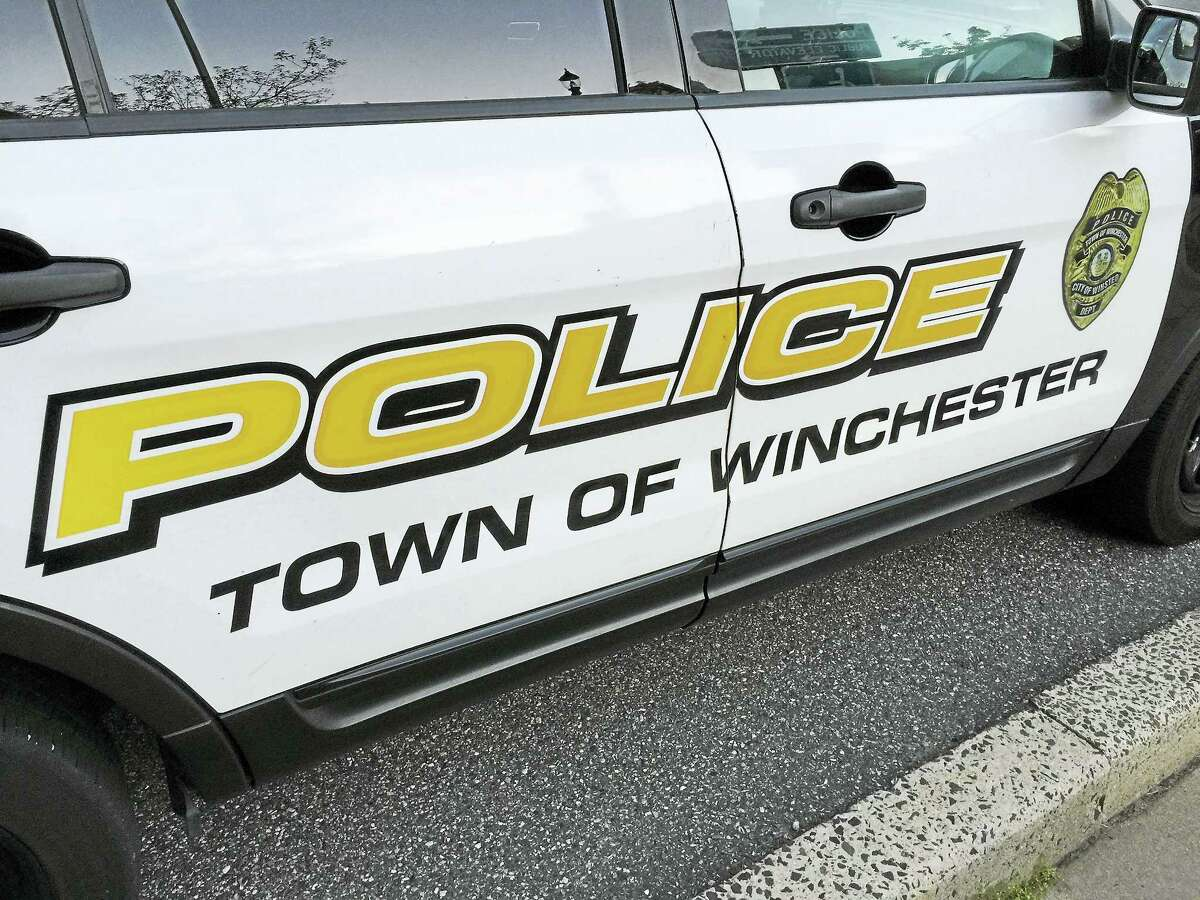 A Winchester police vehicle, as seen outside of the station.
