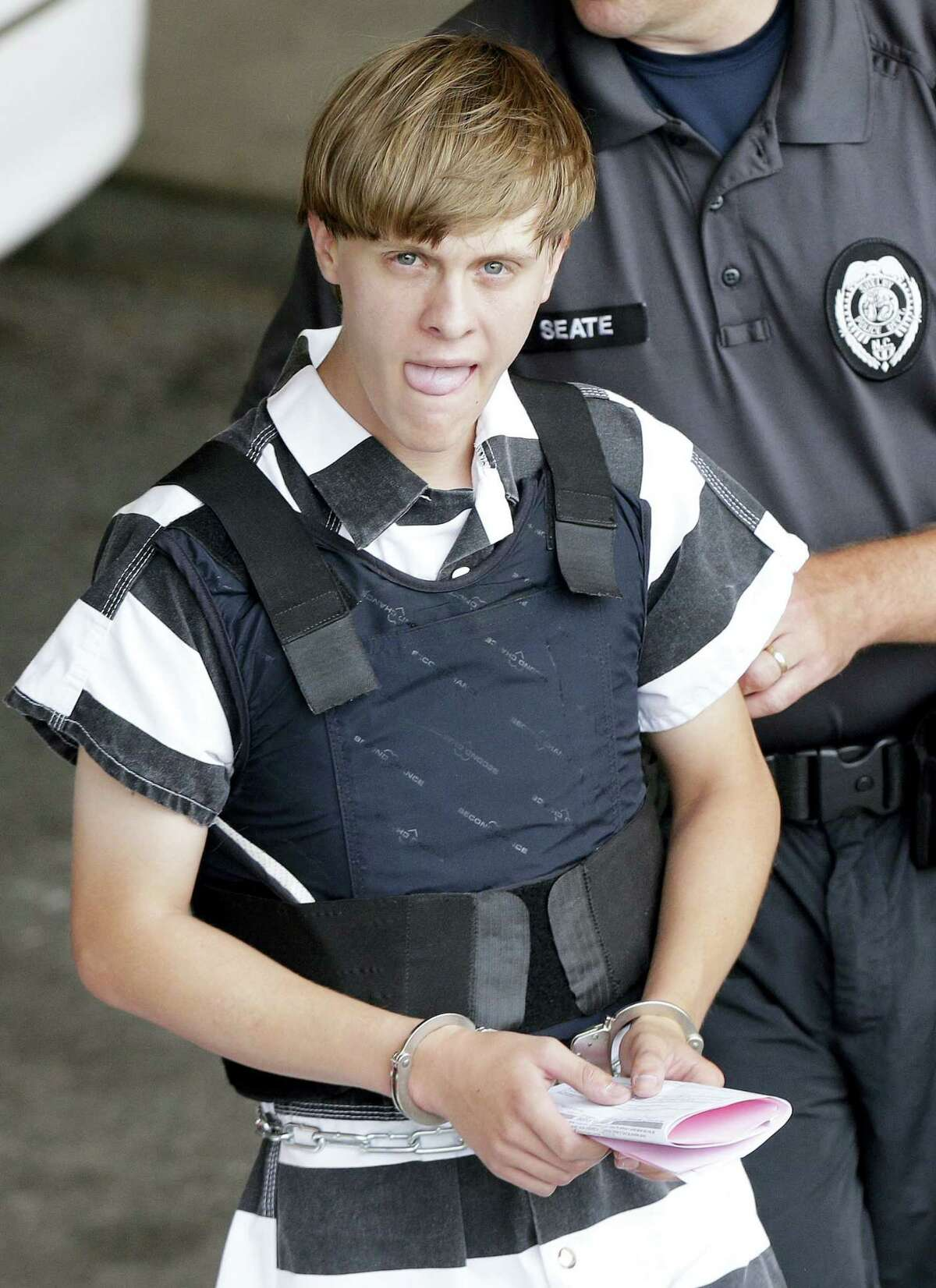 Dylann Storm Roof is escorted from the Cleveland County Courthouse in Shelby, N.C. in 2015.