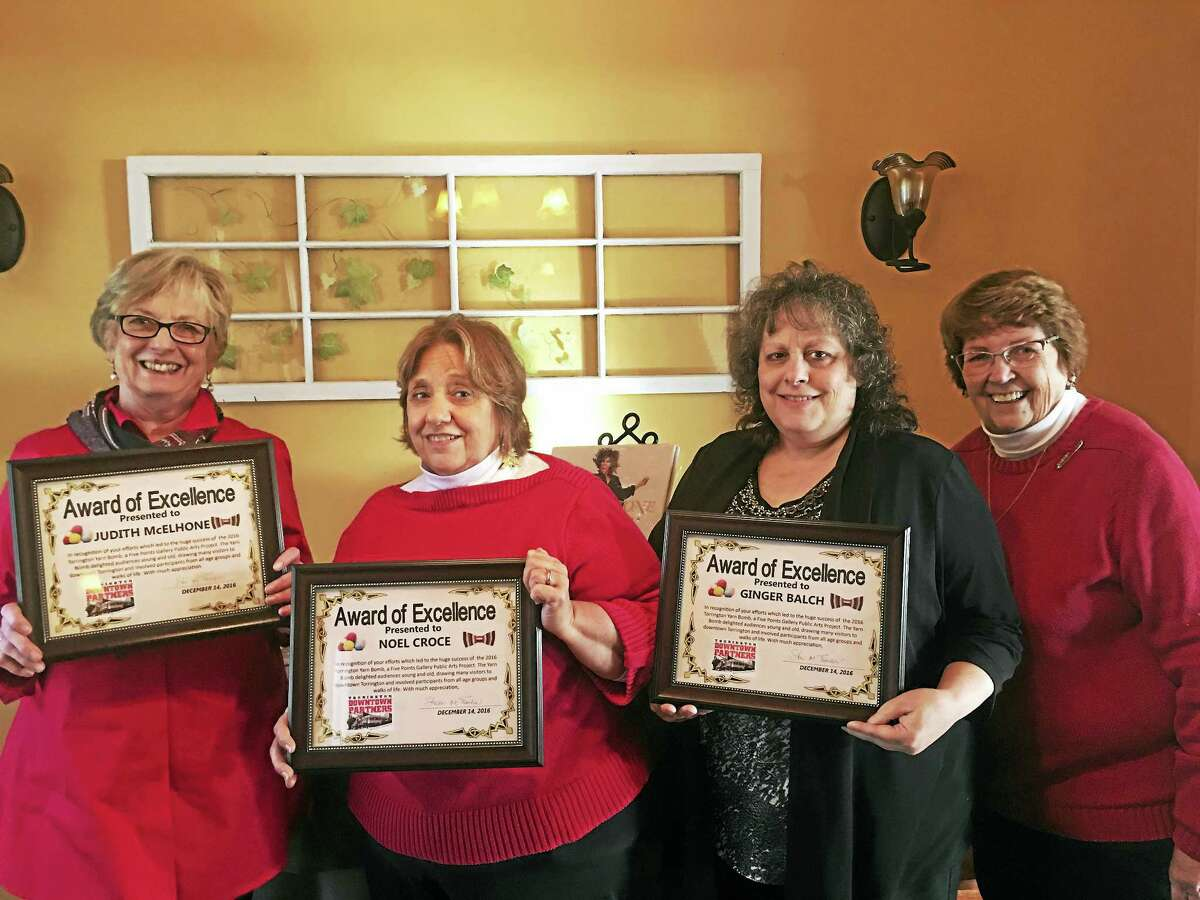 Ben Lambert - The Register Citizen The Torrington Downtown Partners presented certificates of appreciation to Ginger Balch, Judith McElhone, and Noel Croce Wednesday in recognition of this summer's Yarn Bomb event.