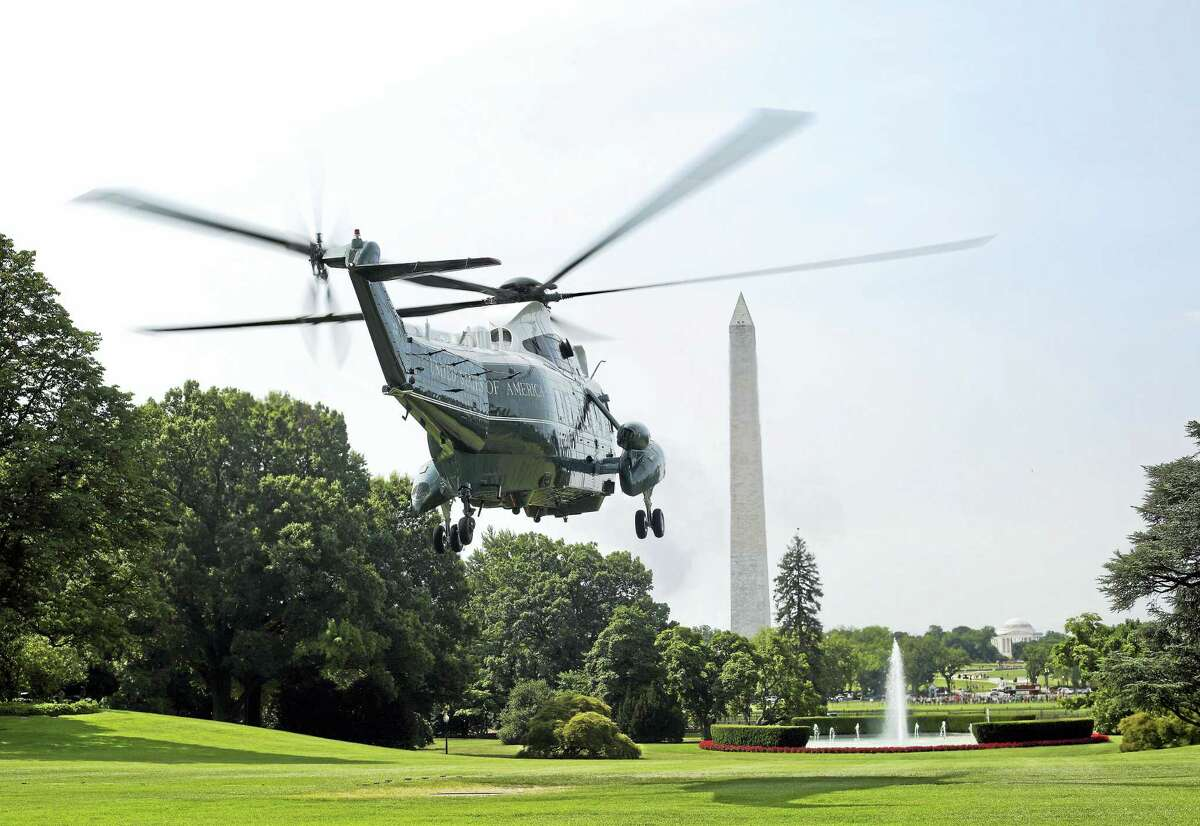Marine One, seen here, with President Barack Obama and first lady Michelle Obama aboard, lifting off from the South Lawn of the White House in Washington in July.