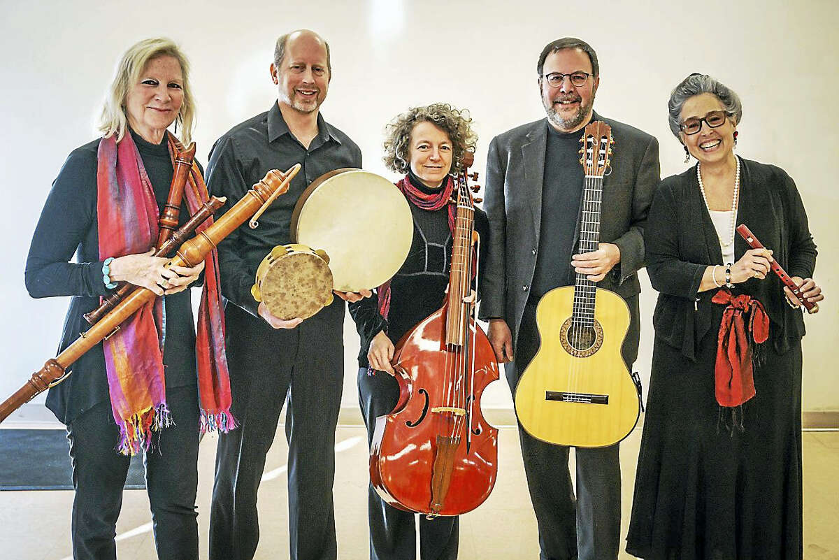 The Wykeham Consort returns to Washington to perform a special concert in January. From left are Sarah Jane Chelminski (recorders), James Allen (Ppercussion), Erica Warnock (bass viol), Andy LaFreniere (guitar) and founder Matilda Giampietro (soprano voice).