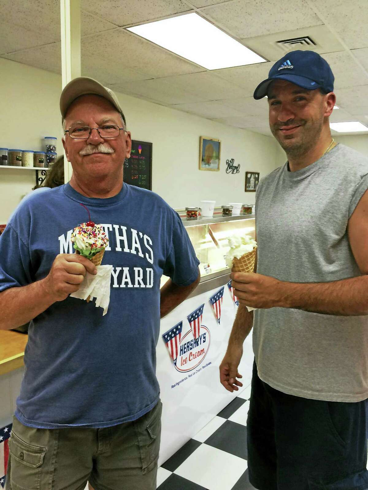 From left, Harwinton residents George and Chris Lutz were first timers at A & J's Ice Cream Parlor.