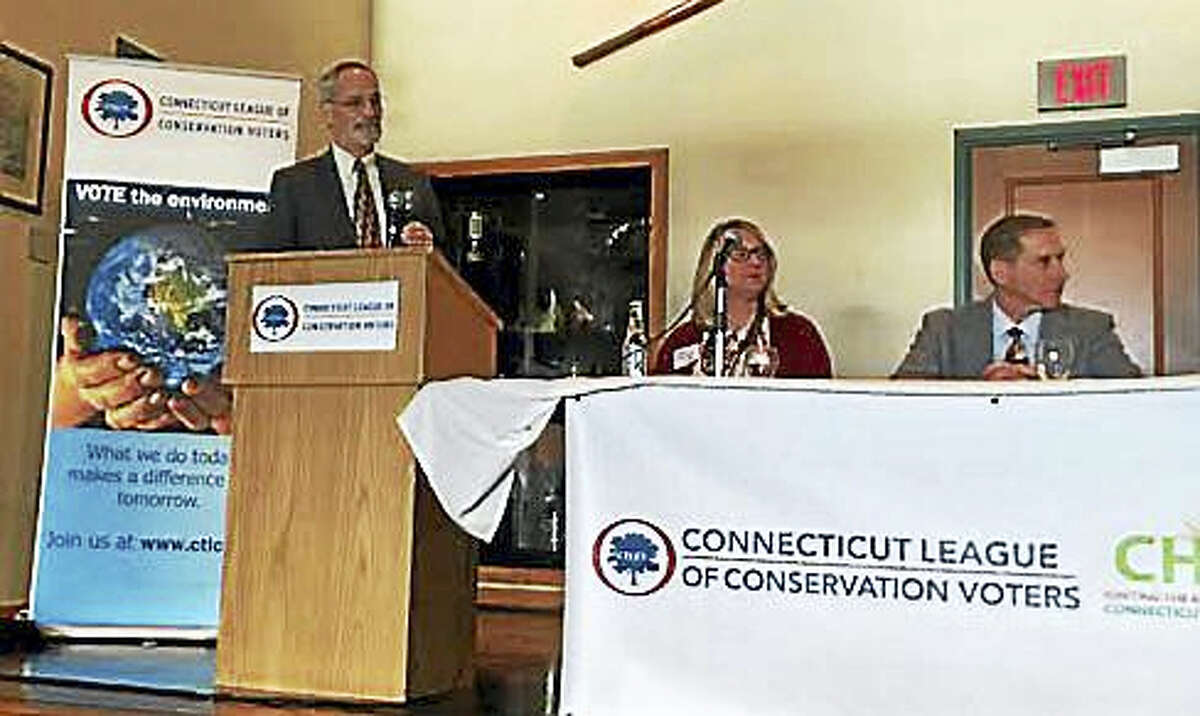 David Sutherland, director of government relations for The Nature Conservancy's Connecticut chapter, leads the panel discussion.