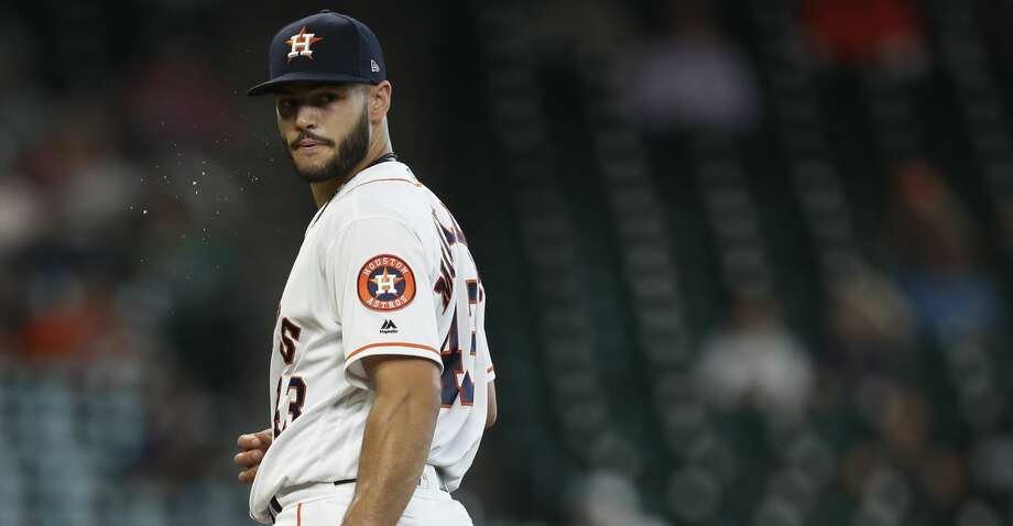Houston Astros starting pitcher Lance McCullers Jr. (43) checks the runner on first base during the second inning of an MLB Thursday, April 20, 2017, in Houston. ( Karen Warren / Houston Chronicle ) Photo: Karen Warren/Houston Chronicle