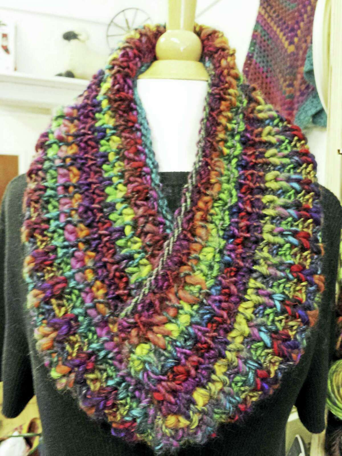 Photo by Ginger Balch You can learn to knit this easy, warm and cozy fisherman's rib cowl at In Sheep's Clothing on Sunday.