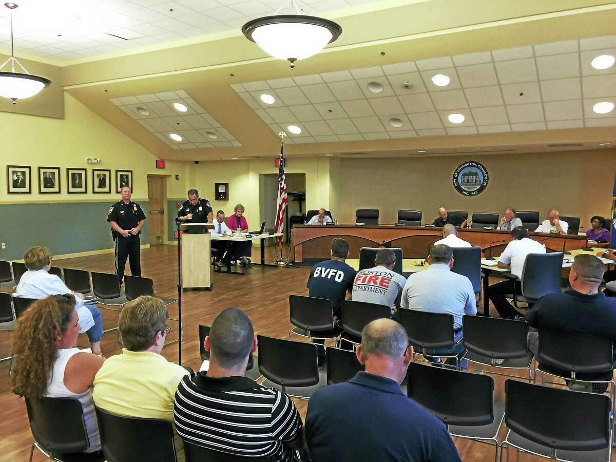 Ben Lambert - The Register CitizenLt. Bart Barown of the Torrington police department was recognized Wednesday for his efforts during a July 2015 standoff on Torringford Street.