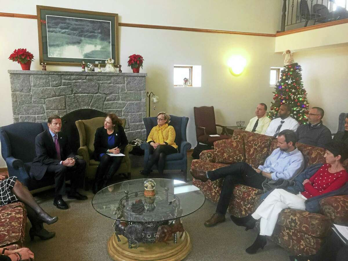 Ben Lambert - The Register CitizenU.S. Rep. Elizabeth Esty, Sen. Richard Blumenthal, and a number of local stakeholders discussed efforts to treat opiate addiction Tuesday in a forum at the McCall Center for Behavioral Health in Torrington.