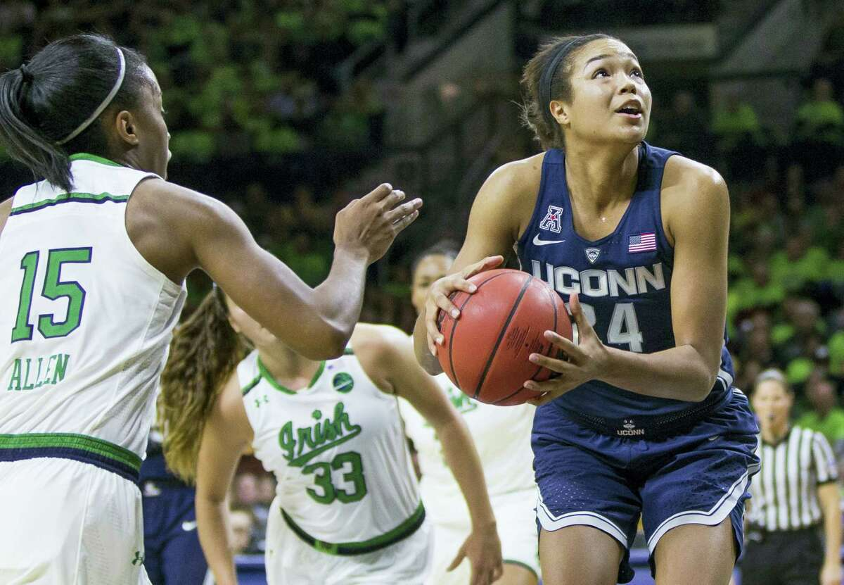 UConn's Napheesa Collier (24) looks for a shot against Notre Dame.
