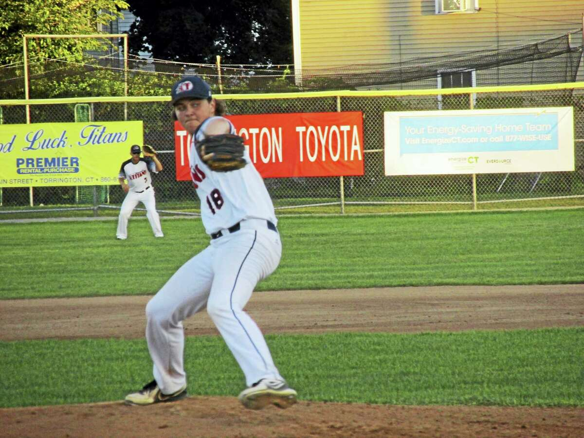 Photo by Peter WallaceTitan Malachi Emond pitched seven strong innings in front of a flawless Torrington defense for a win that clinched a spot in the FCBL playoffs Saturday night.