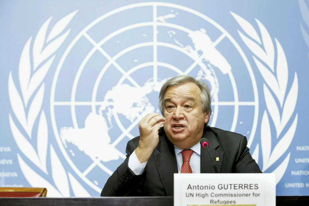 In this Friday, Dec. 18, 2015 photo, United Nations High Commissioner for Refugees Antonio Guterres speaks during a news conference at the European headquarters of the United Nations in Geneva, Switzerland. On Wednesday, Sept. 5, 2016, members of the Security Council unanimously agreed that Guterres should be the next U.N. secretary-general. A UNSC vote is expected Thursday; the candidacy then goes to the General Assembly for final approval.