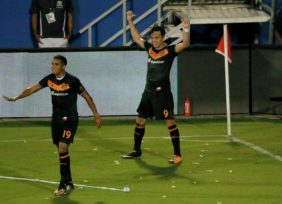 Forward Erick Torres had cause to celebrate after scoring his 13th and record-breaking 14th goal in Wednesday's match. Photo: Tony Gutierrez, STF / Copyright 2017 The Associated Press. All rights reserved.