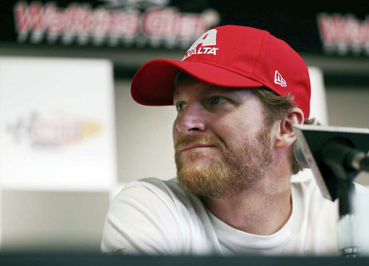 Dale Earnhardt Jr. listens to a question during a press conference earlier this year.