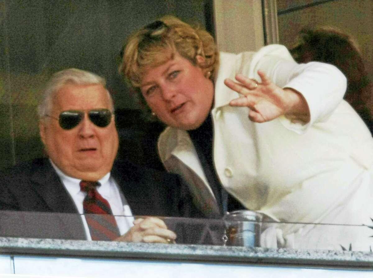 Former York Yankees principal owner George Steinbrenner, left, and his daughter Jessica Steinbrenner in 2009.