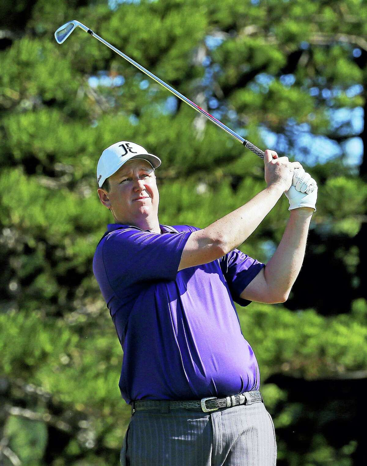 J.J. Henry hits from the second tee during the first round of the Tournament of Champions golf tournament in January at Kapalua Plantation Course on Kapalua, Hawaii.