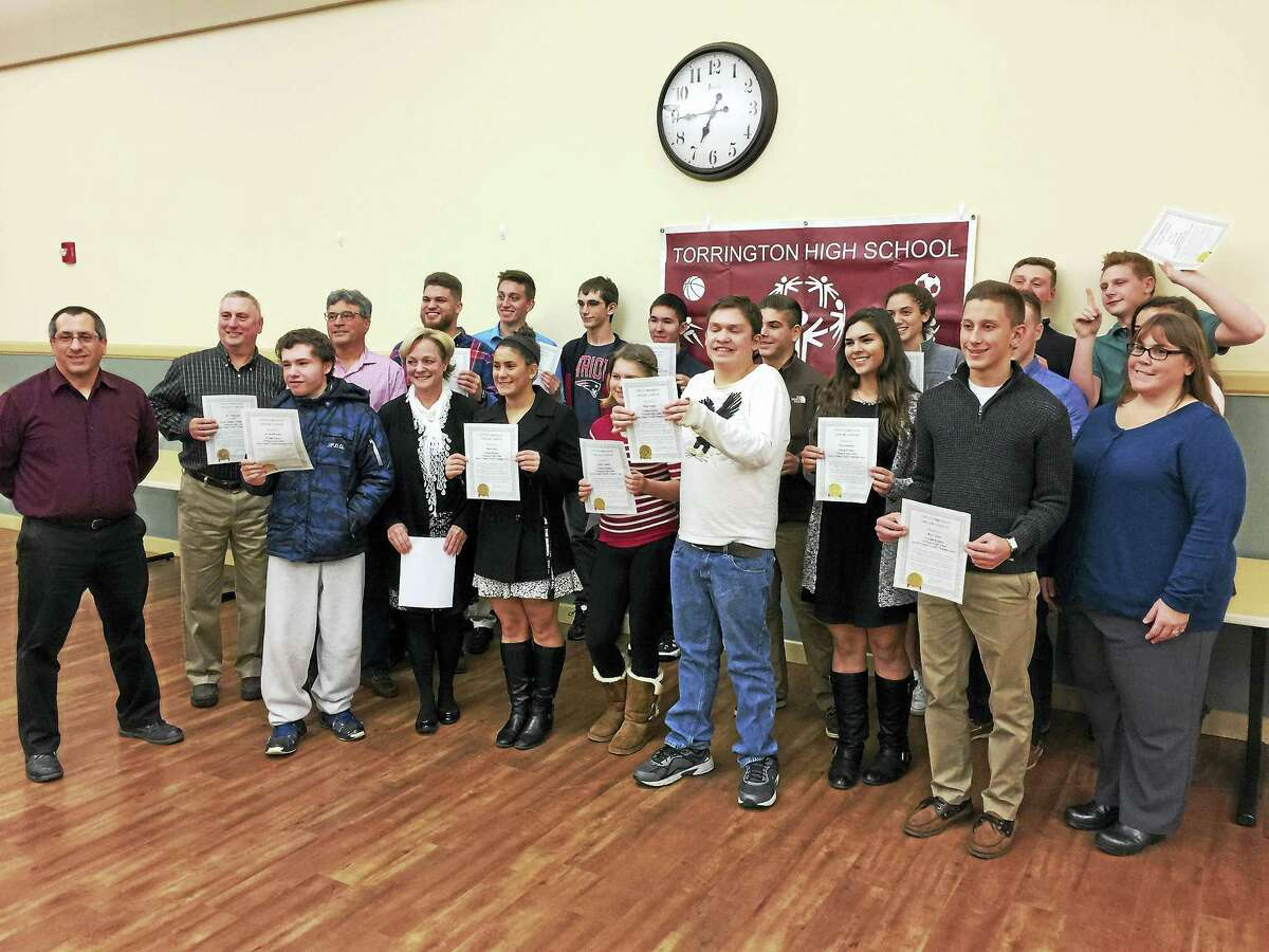 Ben Lambert - The Register CitizenThe students and adults that make up the unified sports program at Torrington High School were celebrated Monday by the Torrington City Council.