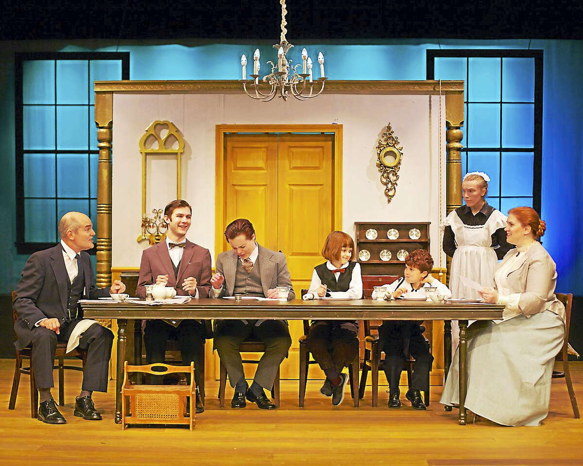 """Photos by Trish Haldin Photography Above, from left, Steve Manzino as Clarence Day, Sr., Tim Vlangas as Clarence Day, Jr., Alex Desjardin as John Day, Maureen Previn as Whitney Day, Elias Osborne as Harlan Day, Mary-Genevieve Moisan as Annie, and Stacy-Lee Frome as Lavinia """"Vinnie"""" Day in """"Life with Father."""""""