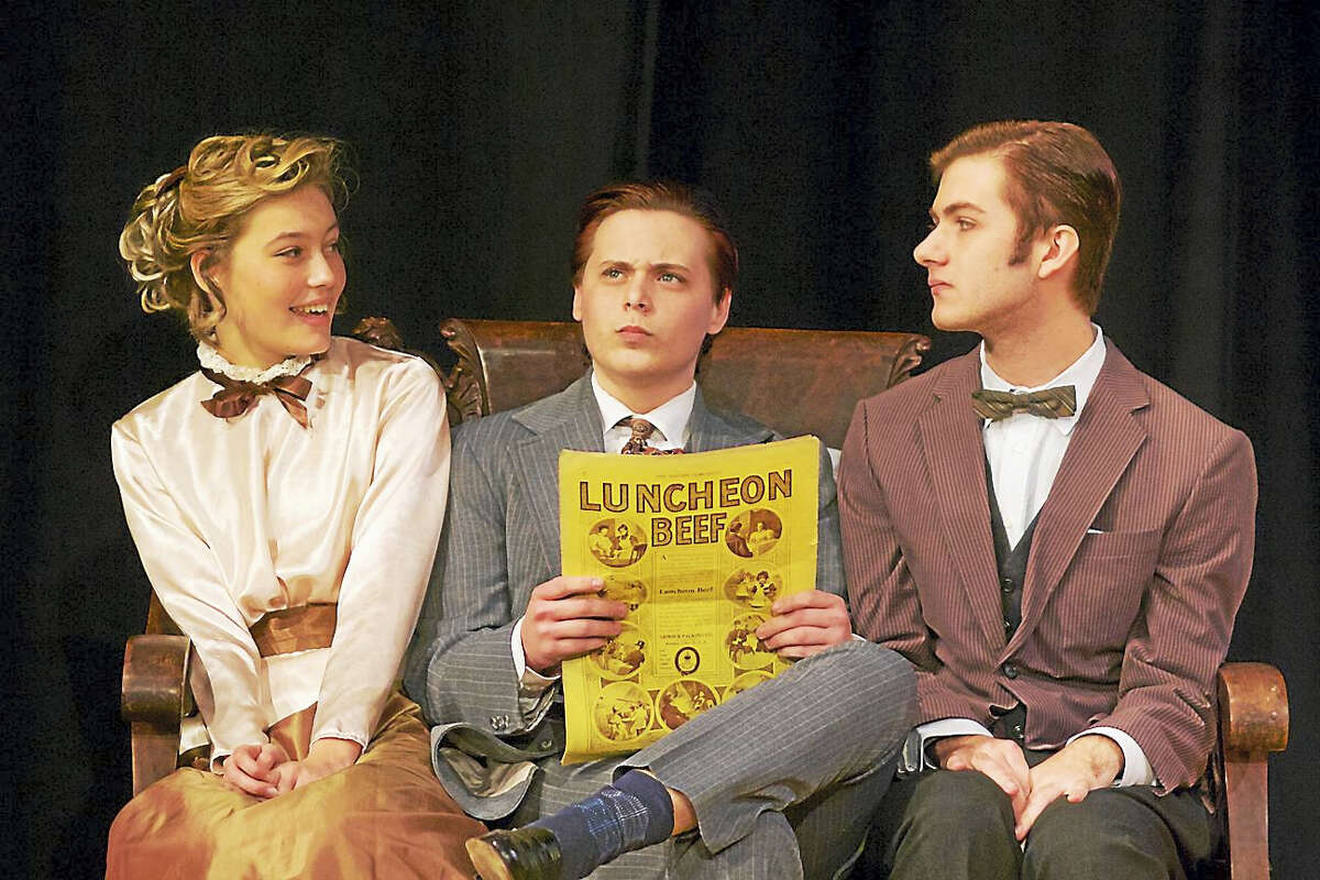 """Photos by Trish Haldin Photography From left, Phair Elizabeth as Mary Skinner, Alex Desjardin, and Tim Vlangas in a scene from """"Life with Father."""""""