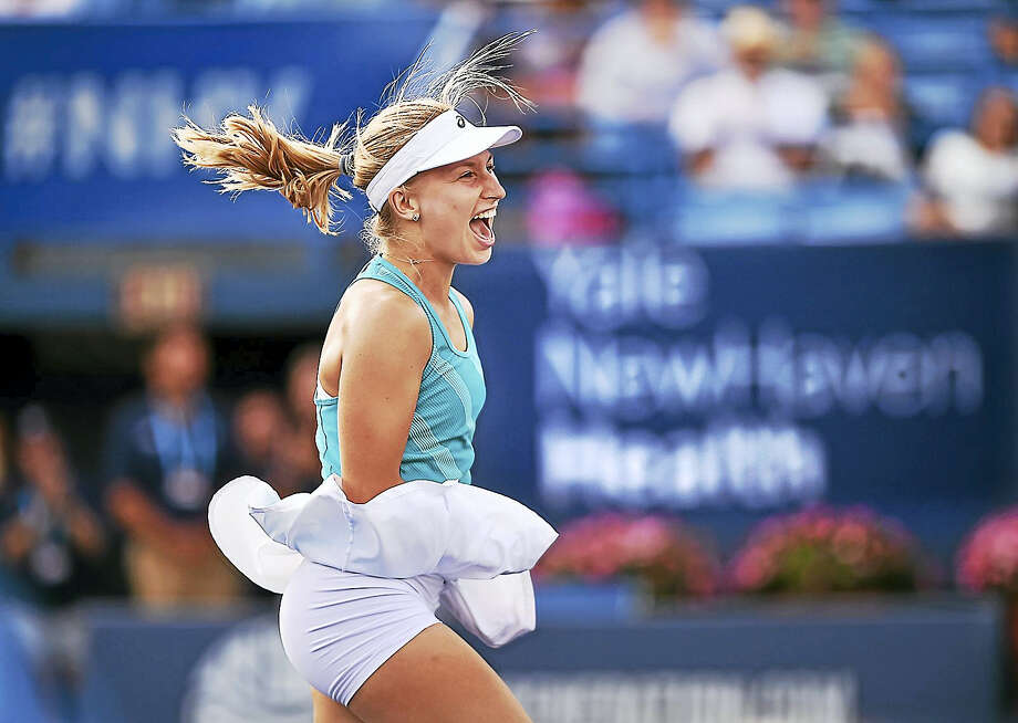 Daria Gavrilova, of Australia looks to her team after ousting Slovakia's Dominika Cibulkova at Stadium Court in the championship match at the Connecticut Tennis Open at the Connecticut Tennis Center, Saturday, August 26, 2017,  in New Haven. Gavrilova won, 4-6, 6-3, 6,4. (Catherine Avalone/Hearst Connecticut Media) / New Haven Register