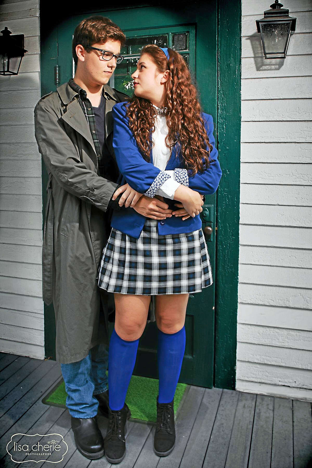 Lisa Cherie PhotographyRyan Glander (J.D.) embraces Isabella Riccio (Veronica) in a scene from Heathers.