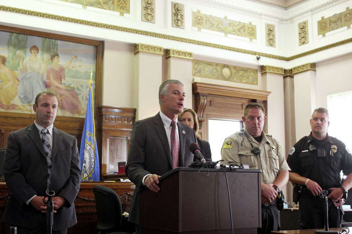 South Dakota Attorney General Marty Jackley announces charges against two consultants who worked with a Native American tribe on its plans to open the nation's first marijuana resort during a news conference in Flandreau, S.D.